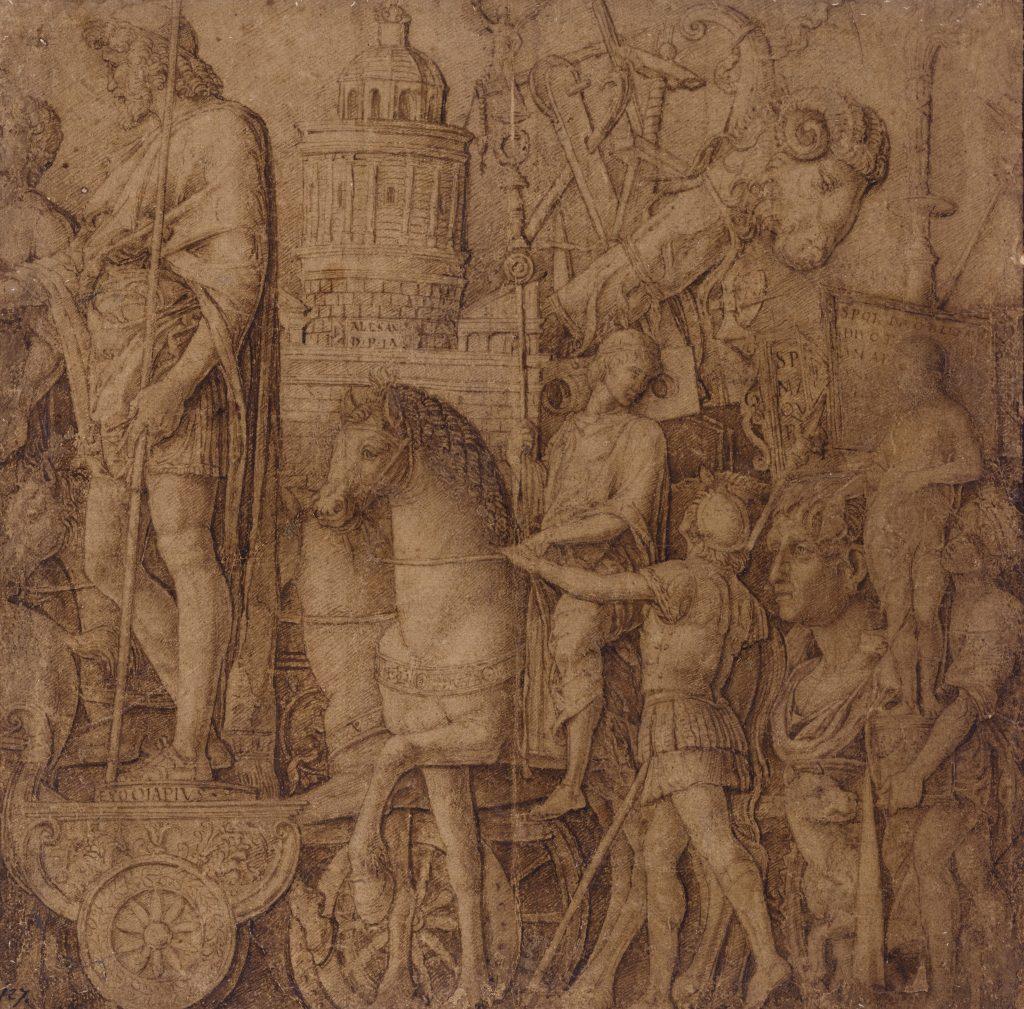 """Andrea Mantegna, studio per """"II portabandiera e l'equipaggiamento d'assedio"""", parte della serie """"I trionfi di Cesare"""", II. Courtesy of Sotheby's"""