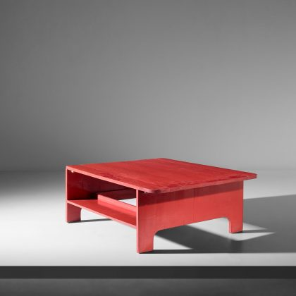 Ettore Sottsass Jr, Unique and important coffee table with intergrated bookshelves, ca. 1949. Courtesy of Phillips