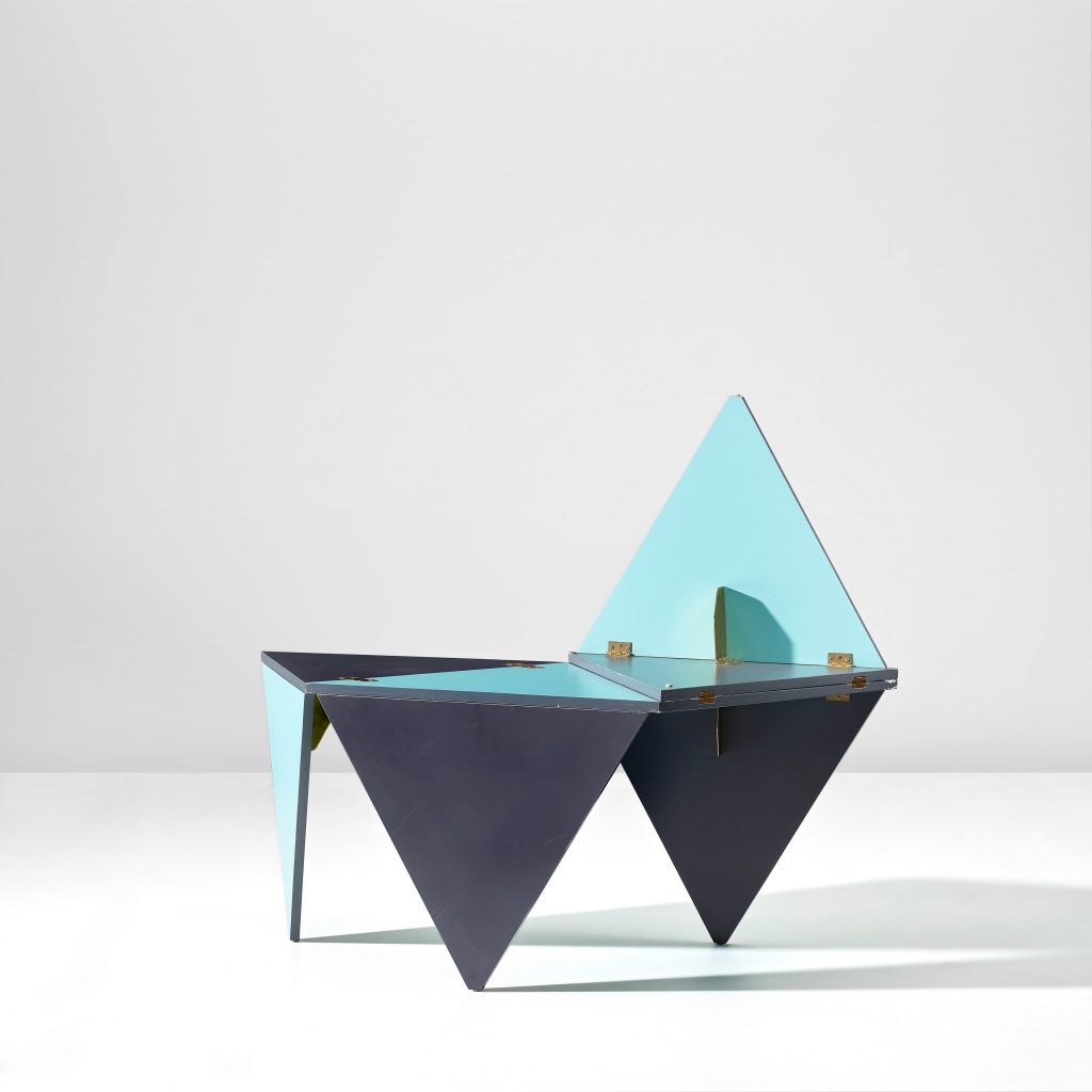 "Gio Ponti, ""Unique prototype folding coffee tables"", blue, 1970. Courtesy Phillips"