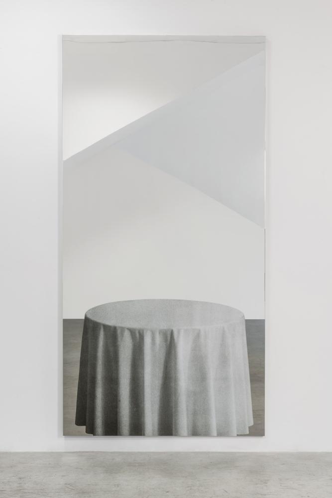 """Michelangelo Pistoletto, """"Tavolo con tovaglia bianca"""", 1982"""