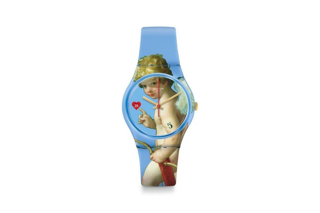 Uno degli orologi Swatch in collaborazione con il Louvre