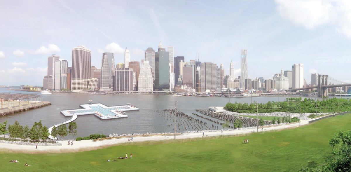 Il rendering del progetto della piscina, realizzato da Family New York, Courtesy of Friends of + POOL