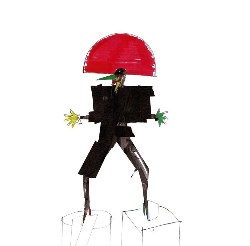 """""""Libertango"""" (New York, 1981), disegno di un costume di scena, realizzato con pennarello e nastro adesivo."""