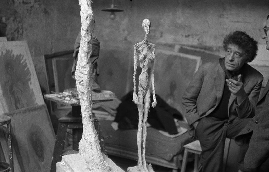 1958. Alberto Giacometti in his studio.