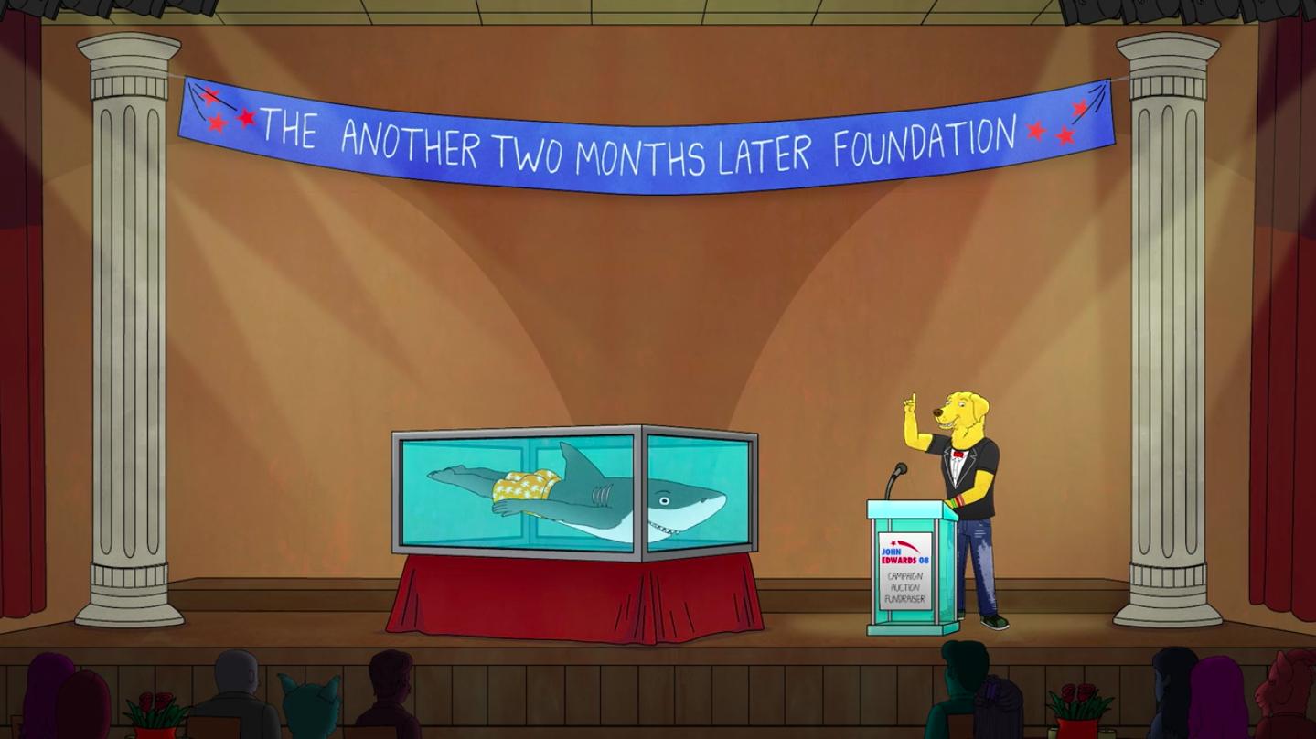 Mr. Peanutbutter mette in vendita uno dei celebri squali di Damien Hirst durante un'asta di beneficenza (Courtesy: Netflix)