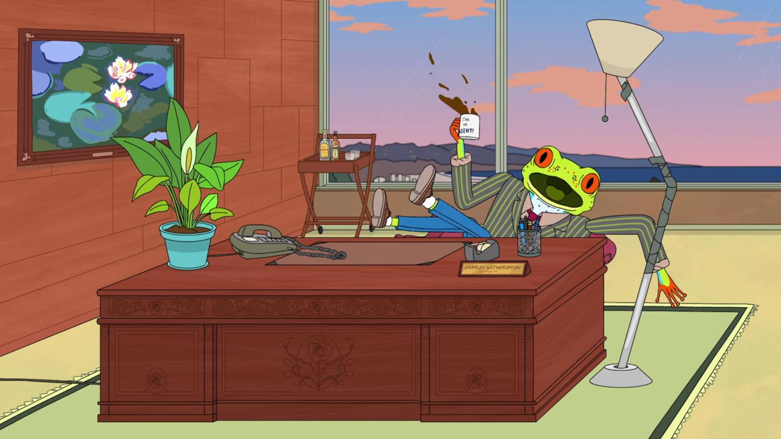 Per un personaggio che ha le fattezze di una rana, poteva esserci opera migliore da appendere in ufficio? Ecco che in BoJack Horseman compaiono le celeberrime ninfee di Monet