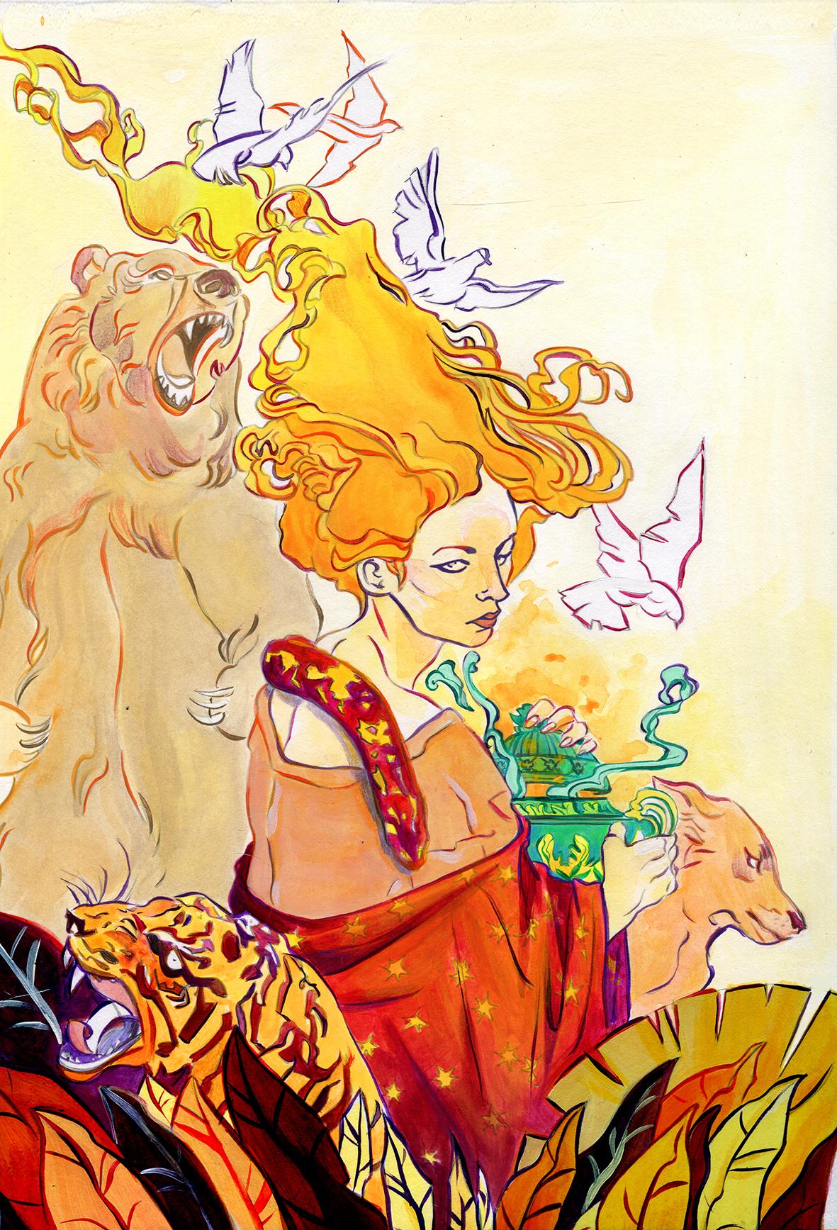 Pandora: illustrazione ad acrilico per il libro La bellezza di Medusa (DeA, 2019), scritto da Sabina Colloredo (Courtesy: La 3am)
