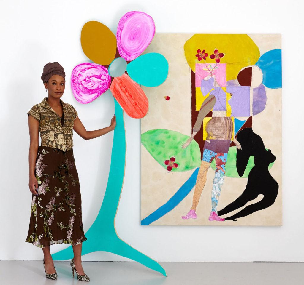 Tschabalala Self, accanto alla scultura Glory e al dipinto Flowergirl, entrambi del 2017. (Photo: Joshua McHugh)