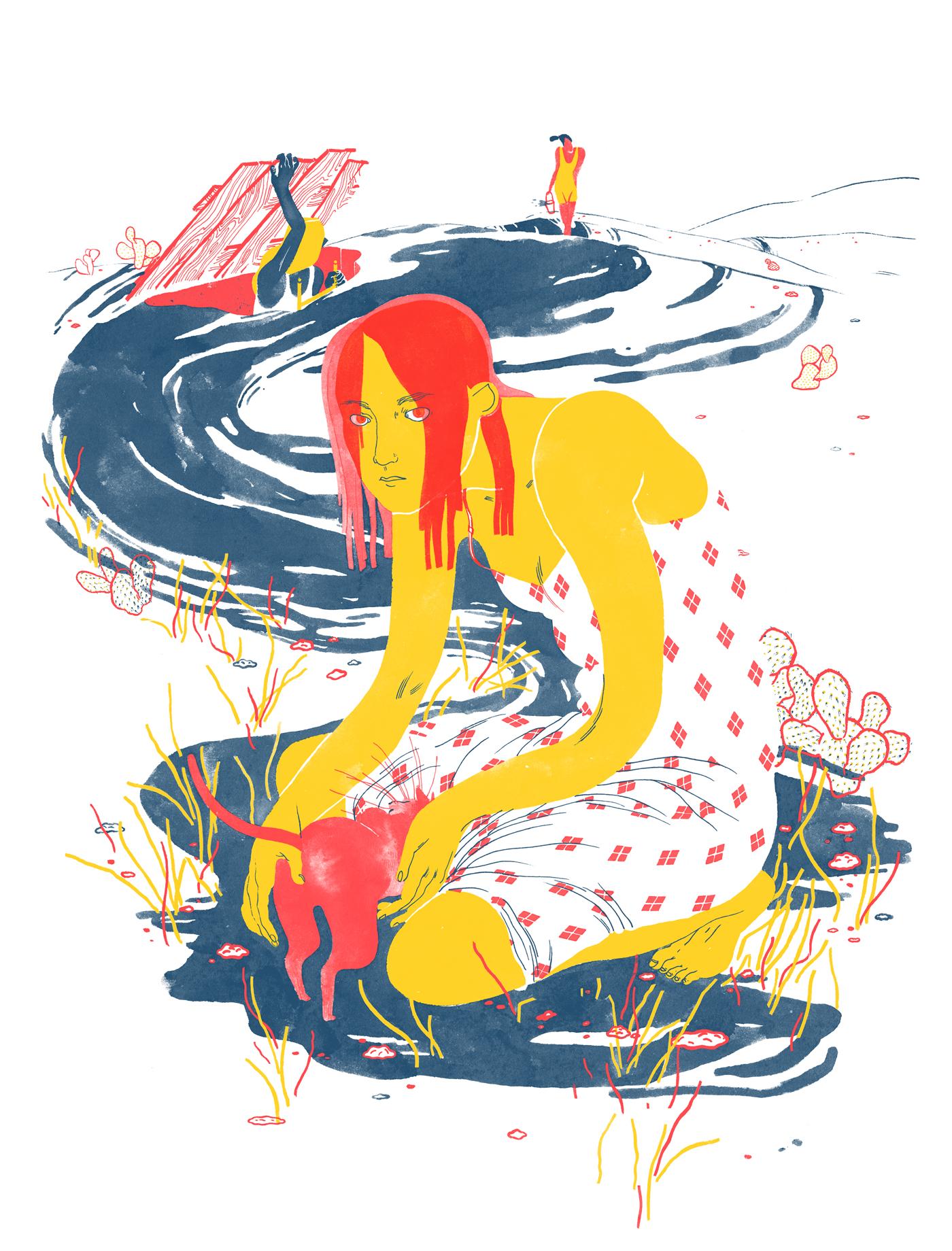 Margherita Morotti - progetto personale, ecoline su carta, colorazione digitale