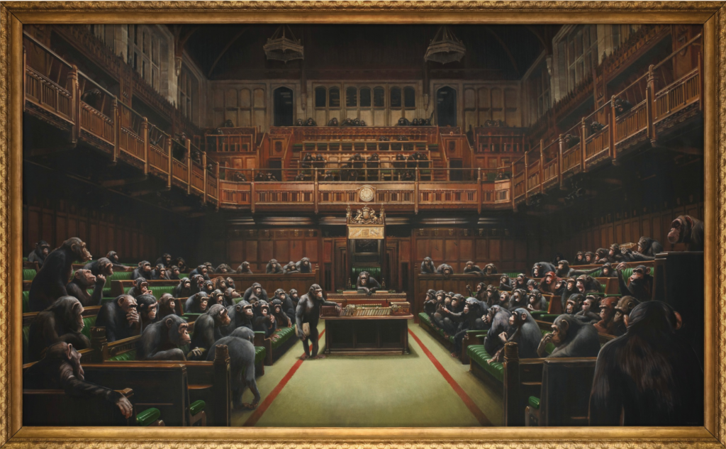 "Banksy, ""Devolved Parliament"", 2008. Image courtesy of Sotheby's"