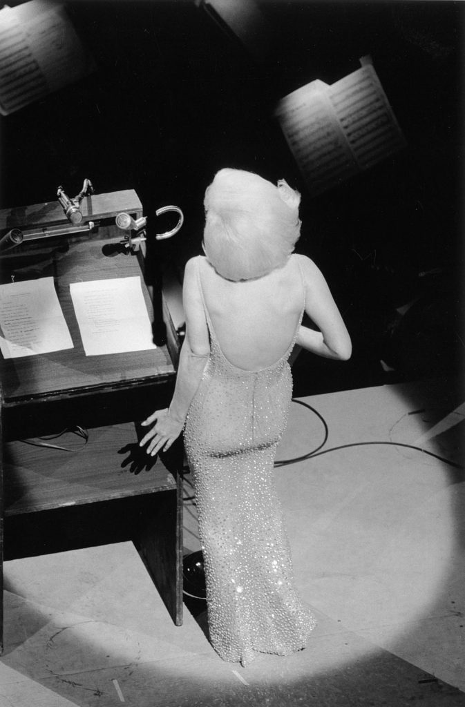 Marilyn Monroe singing Happy Birthday to President John F Kennedy from the stage at Madison Square Garden, three months before her death, 1962 Photograph: Courtesy of Monroe Gallery