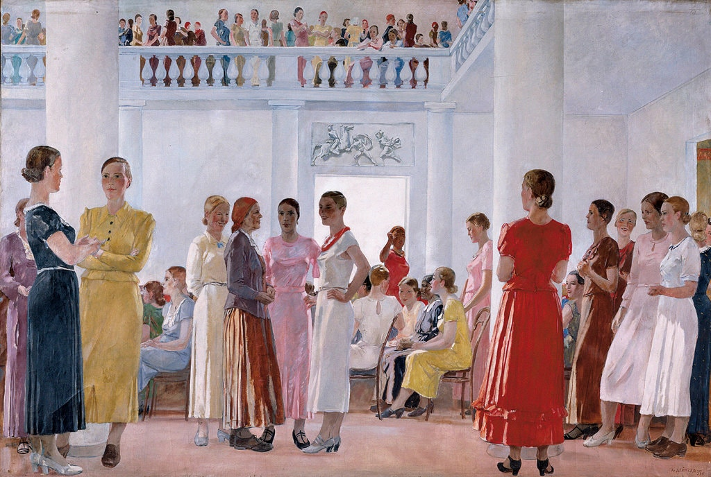 Aleksander Deineka, Meeting of Women (Courtesy: Chelyabinsk State Museum of Fine Arts)