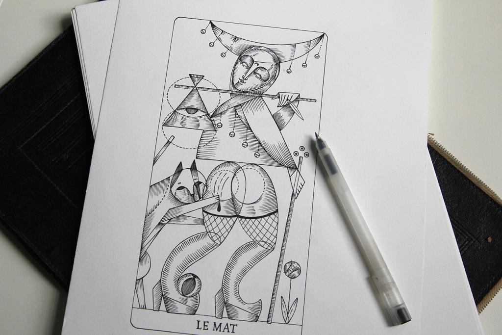Il Matto - disegno su china, uno dei 22 tarocchi disegnati per il mazzo Le Tarot de L'étoile Cachée di Sabat Magazine
