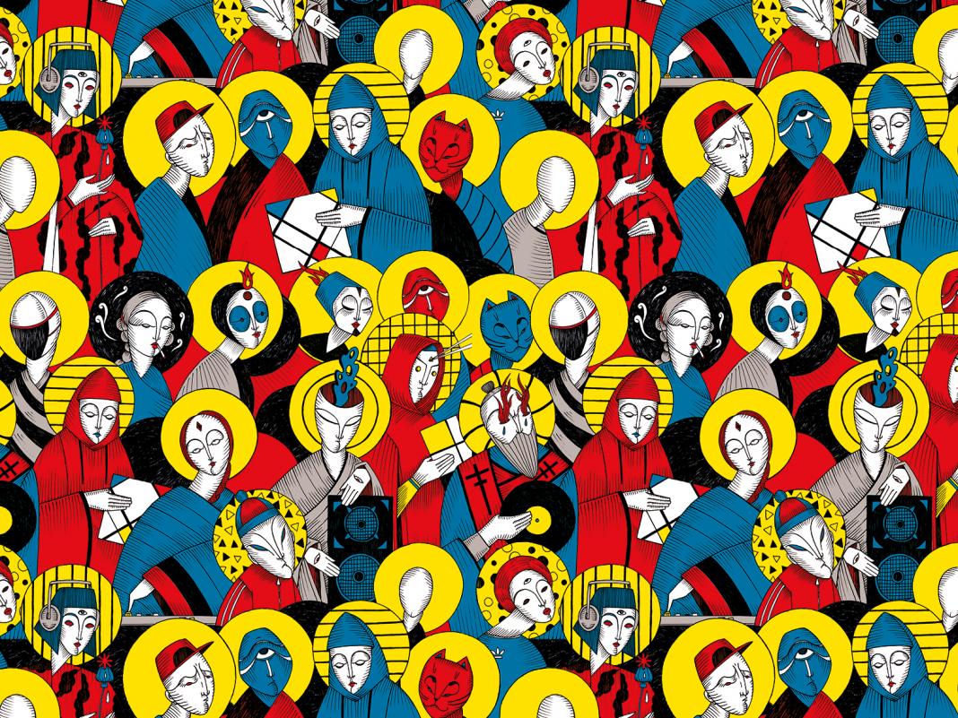 24 Hours Party People - pattern ispirato all'omonimo film di Micheal Winterbottom sulla nascita della cultura del clubbing a Manchester a fine anni '70 e alle opere pittoriche dei Primitivi Italiani.