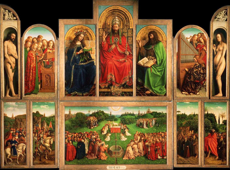 Jan e Hubert Van Eyck - Polittico dell'Agnello Mistico, o Polittico di Gent, aperto