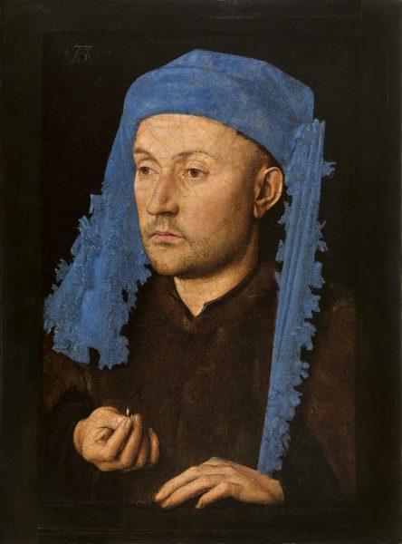 Jan van Eyck, Portrait of a Man with a Blue Chaperon, c. 1428−1430, Muzeul National Brukenthal, Sibiu (Romania)