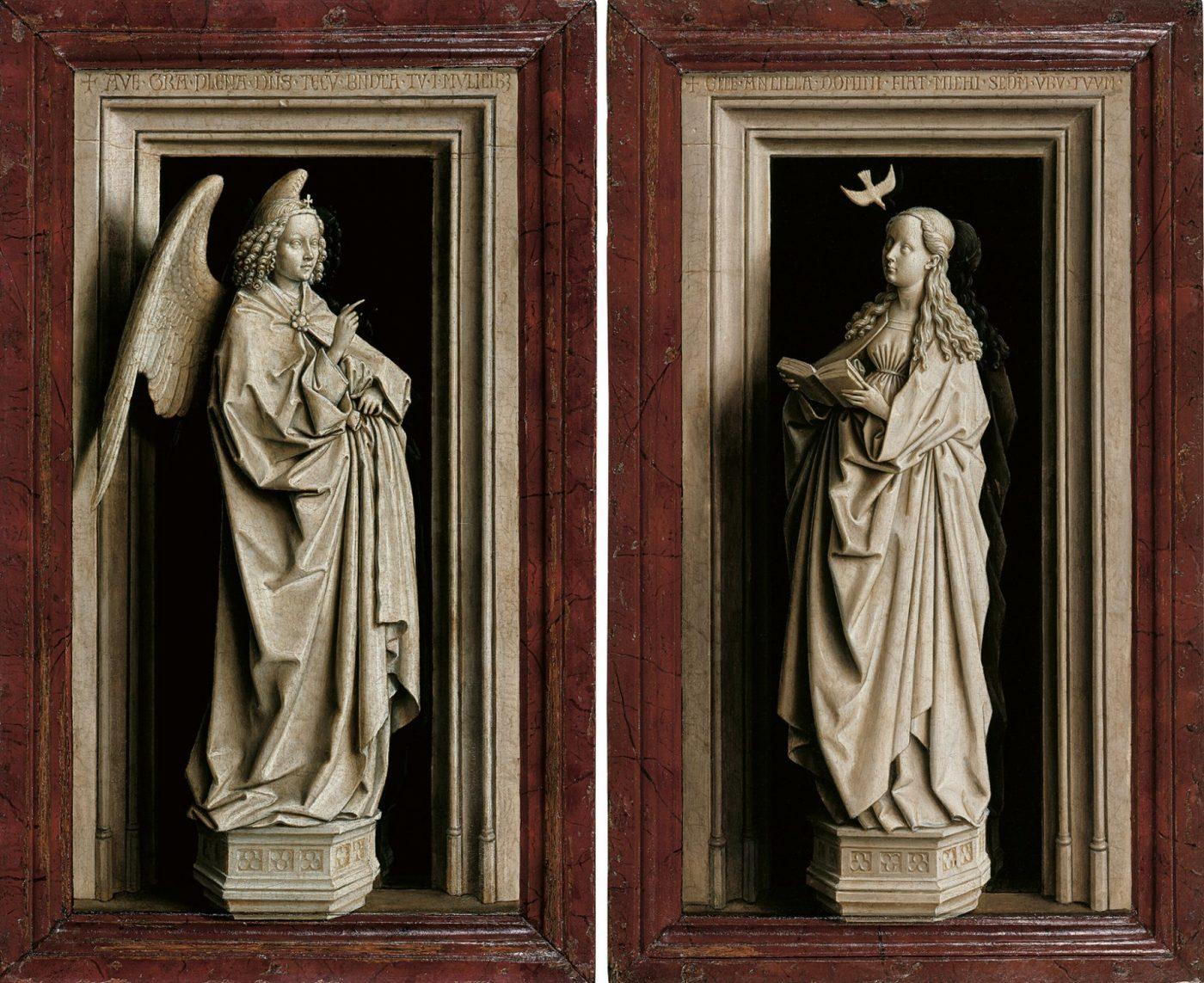 Il talento impareggiabile di Van Eyck rende ogni dipinto straordinario: la finta scultura dell'angelo a sinistra in questa Annunciazione sembra fuoriuscire dalla cornice, entrando nello spazio del pubblico, con la sua tridimensionalità illusionistica.