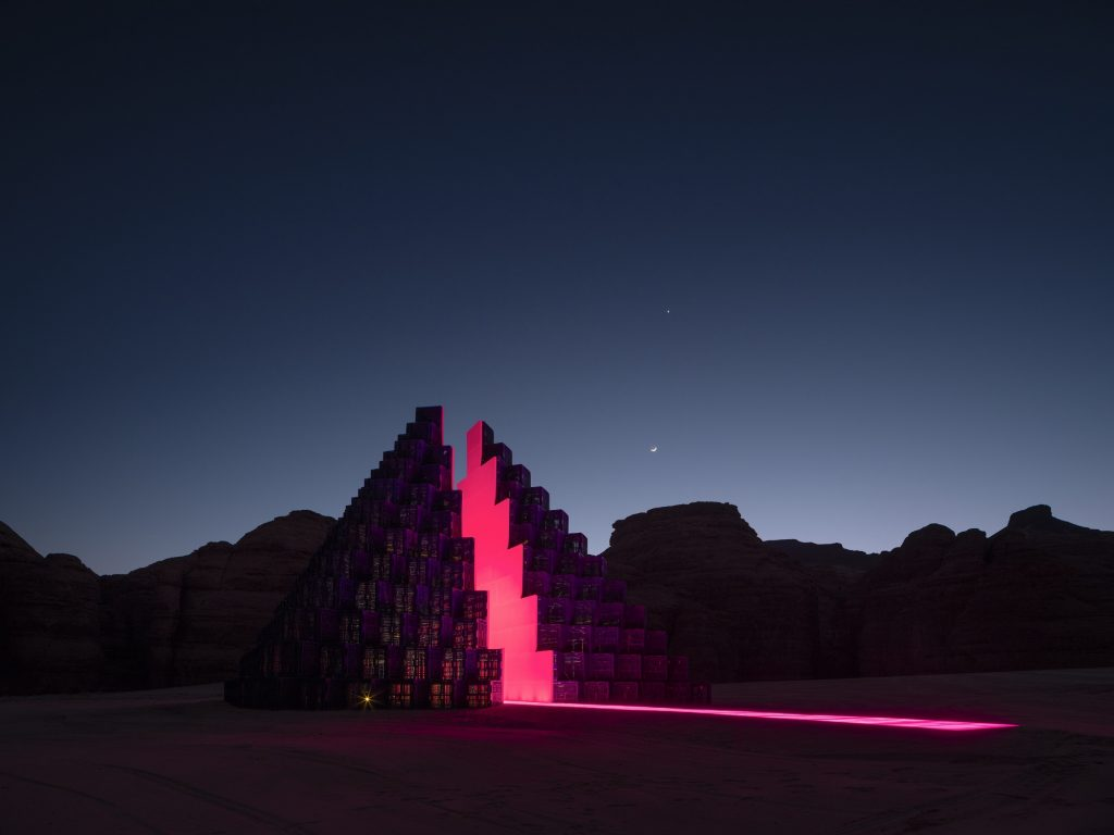 Rashed AlShashai, A Concise Passage, installation view at Desert X AlUla, photo Lance Gerber, courtesy the artist, RCU and Desert X
