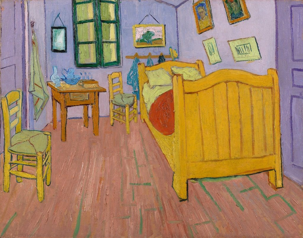 "Ricostruzione digitale dei colori originali del dipinto di Van Gogh, ""The Bedroom"" (1889), Vincent van Gogh Foundation; Van Gogh Museum"