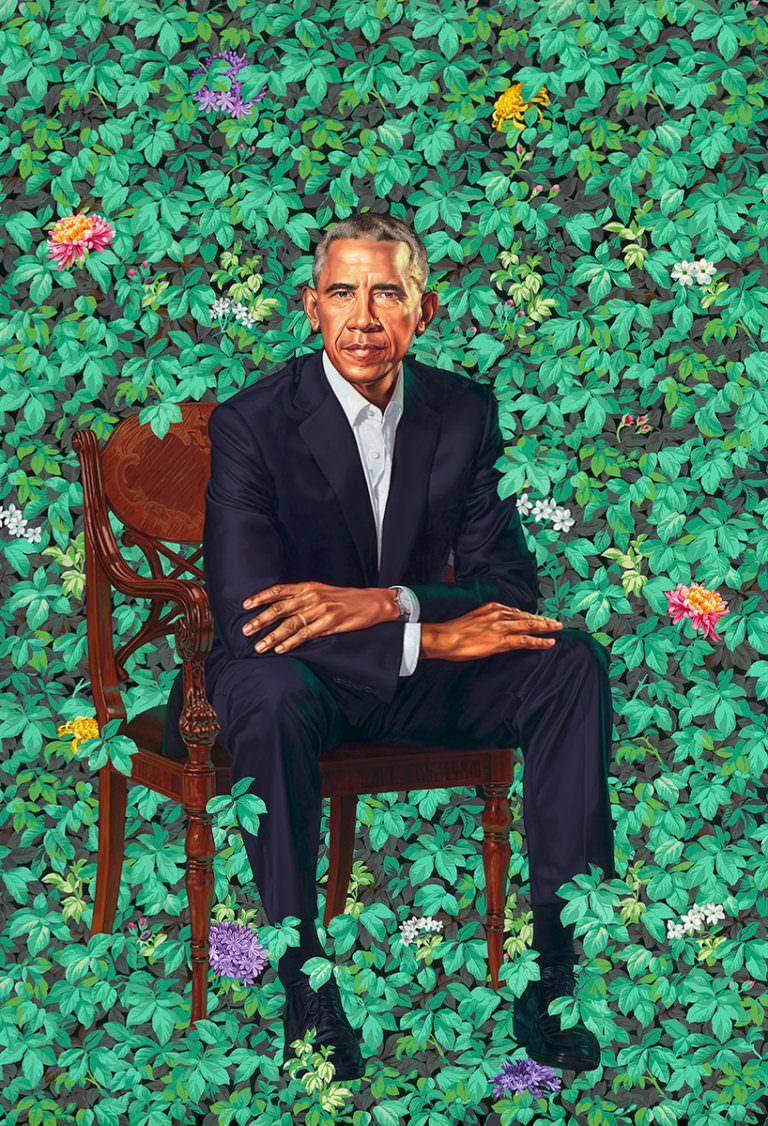 Una delle opere più ricercate durante il Black History Month è questa: il ritratto di Barack Obama realizzato da Kehinde Wiley (© kehinde wiley)