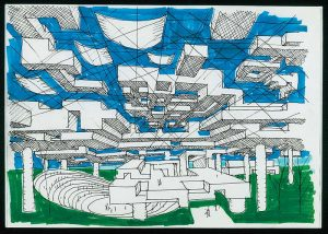 Yona Friedman, disegno per la Ville spatiale, 1959-1960, inchiostro su carta © François Lauginie