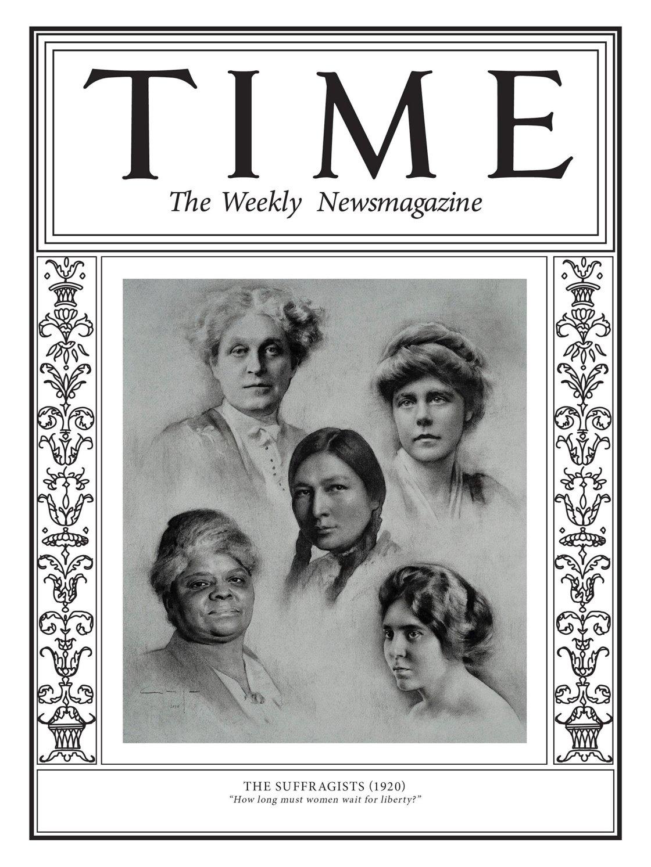 La prima copertina del progetto del Time dedicato a 100 donne della storia è dedicata a loro: le suffragette (Illustration by Amaya Gurpide for TIME; Getty (4), Granger)