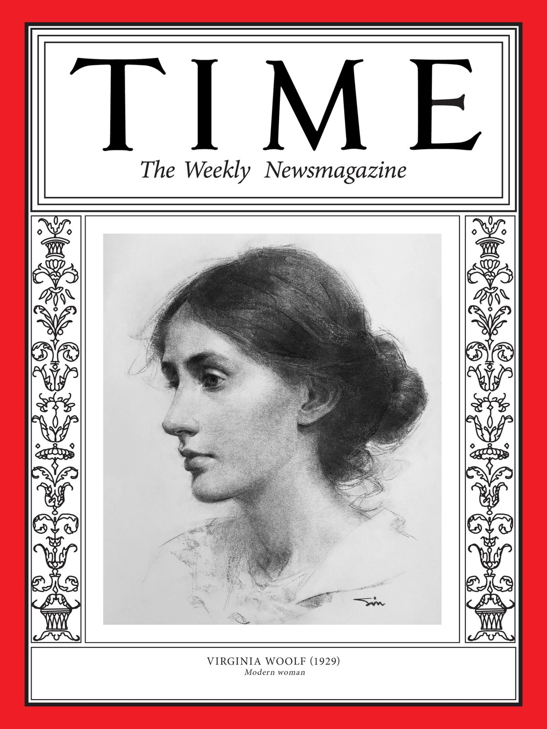 Una delle prime cover per 100 Women of The Year è dedicata alla scrittrice Virginia Woolf (Illustration by Oliver Sin for TIME; George C. Beresford—Hulton Archive/Getty)