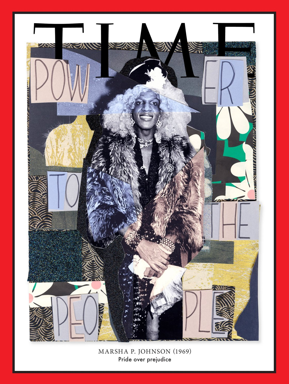 Marsha Johnson, drag queen attivista, figura di spicco dei movimenti di Stonewall nel 1969 (Art by Mickalene Thomas for TIME; Johnson: Arlene Gottfried—Daniel Cooney Fine Art; Sign: Diana Davies © NYPL/Art Resource, NY)