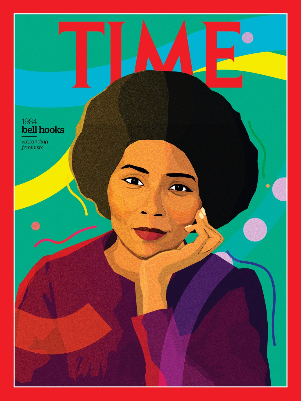 L'attivista femminista nota con lo pseudonimo di bell hooks (Art by Monica Ahanonu for TIME)
