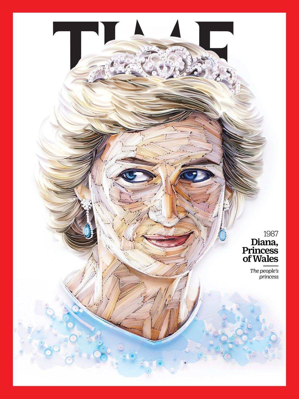 Il ritratto di Lady Diana scelto per il 1987 (Paper sculpture by Yulia Brodskaya for TIME)
