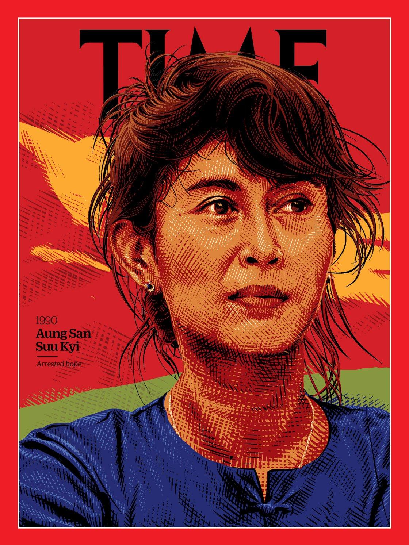 Aung San Suu Kyi: premio Nobel per la pace, politica birmana attiva sul fronte dei diritti umani Illustration by Tracie Ching for TIME; Sandro Tucci—The LIFE Images Collection/Getty)