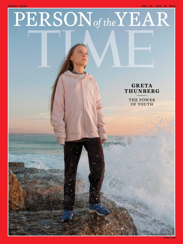 La copertina di dicembre del 2019 era dedicata a Greta Thunberg (Evgenia Arbugaeva for TIME)