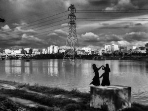 Tahia Farhin Haque, Dancing in the wind, two girls are dancing on one of the days of Eid, 2017 (courtesy of the artist)