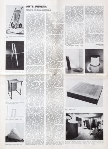 Il manifesto dell'Arte Povera apparso su Flash Art, 1967