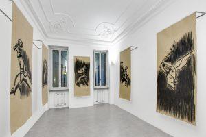 Cosimo Veneziano, Giorni di un futuro passato, 2017, grafite su tela, Installation view