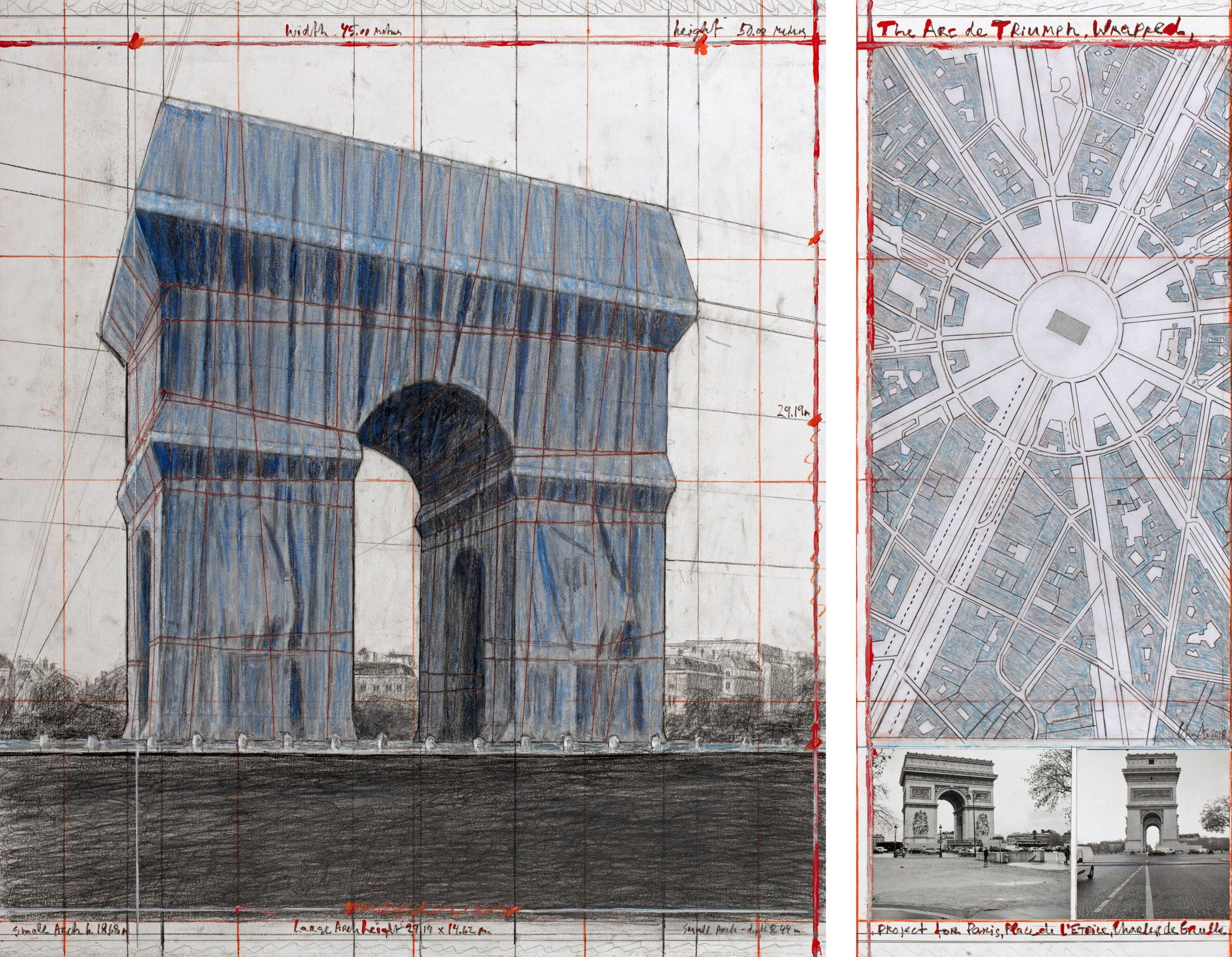 Christo and Jeanne-Claude, Arc de Triomphe, Wrapped, Parigi