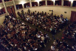 Un momento storico del Forum dell'Arte Contemporanea, nel 2015 al Teatro Sferisterio di Prato