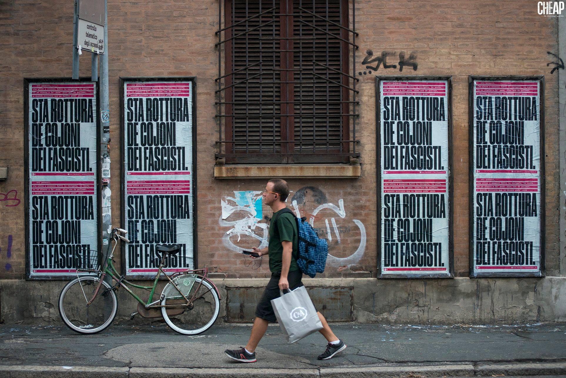 Bologna, 2018 - Il testo-manifesto diventa un poster affisso nelle strade (CHEAP street poster art | ph Michele Lapini).