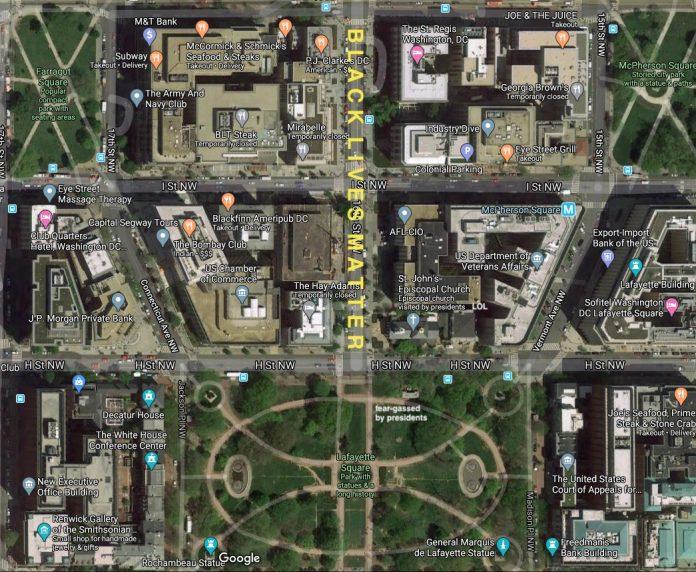 Anche da Google Maps è possibile vedere la strada di Washington DC su cui è stato scritto a caratteri cubitali Black Lives Matter. Questa è solo una delle notizie dal mondo dell'arte di questa settimana. (Fonte: Artforum).