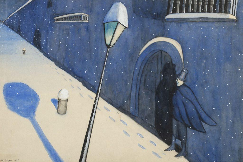 """Lotto 216, DINO BUZZATI (San Pellegrino Di Belluno 1906 - Milano 1972) """"Uomo in una notte di neve"""" 1926, tempera su carta, cm 34x50. Venduto € 25.000"""