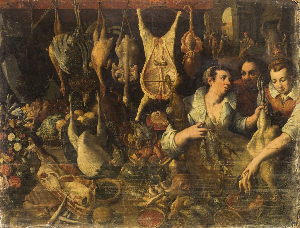 Lotto 1032. SCENA DI MERCATO, PITTORE FIAMMINGO DEL XVII SECOLO. Olio su tela, cm 146x191