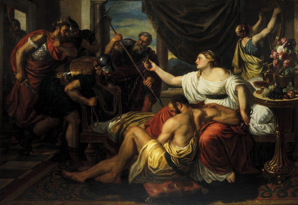 Lotto 852. CARL RAHL, Sansone e Dalila, 1854. Olio su tela, cm 119x171