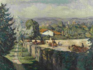 Georg Greve-Lindau, Veduta della via Senese dal giardino di Villa Romana a Firenze), 1912-13