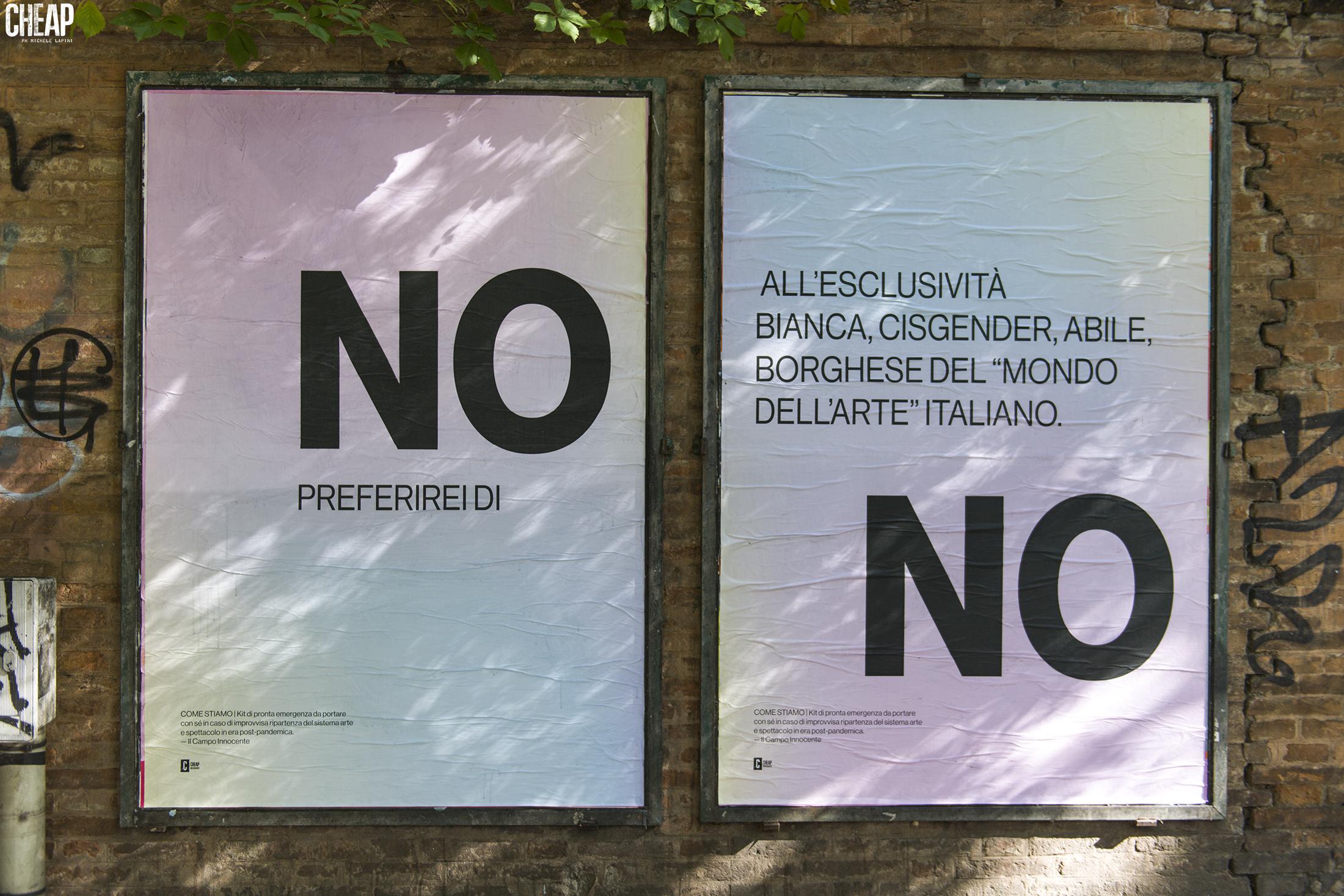 Bologna si riempie di nuovi poster: Cheap porta in città le riflessioni de Il Campo Innocente (foto: Michele Lapini).