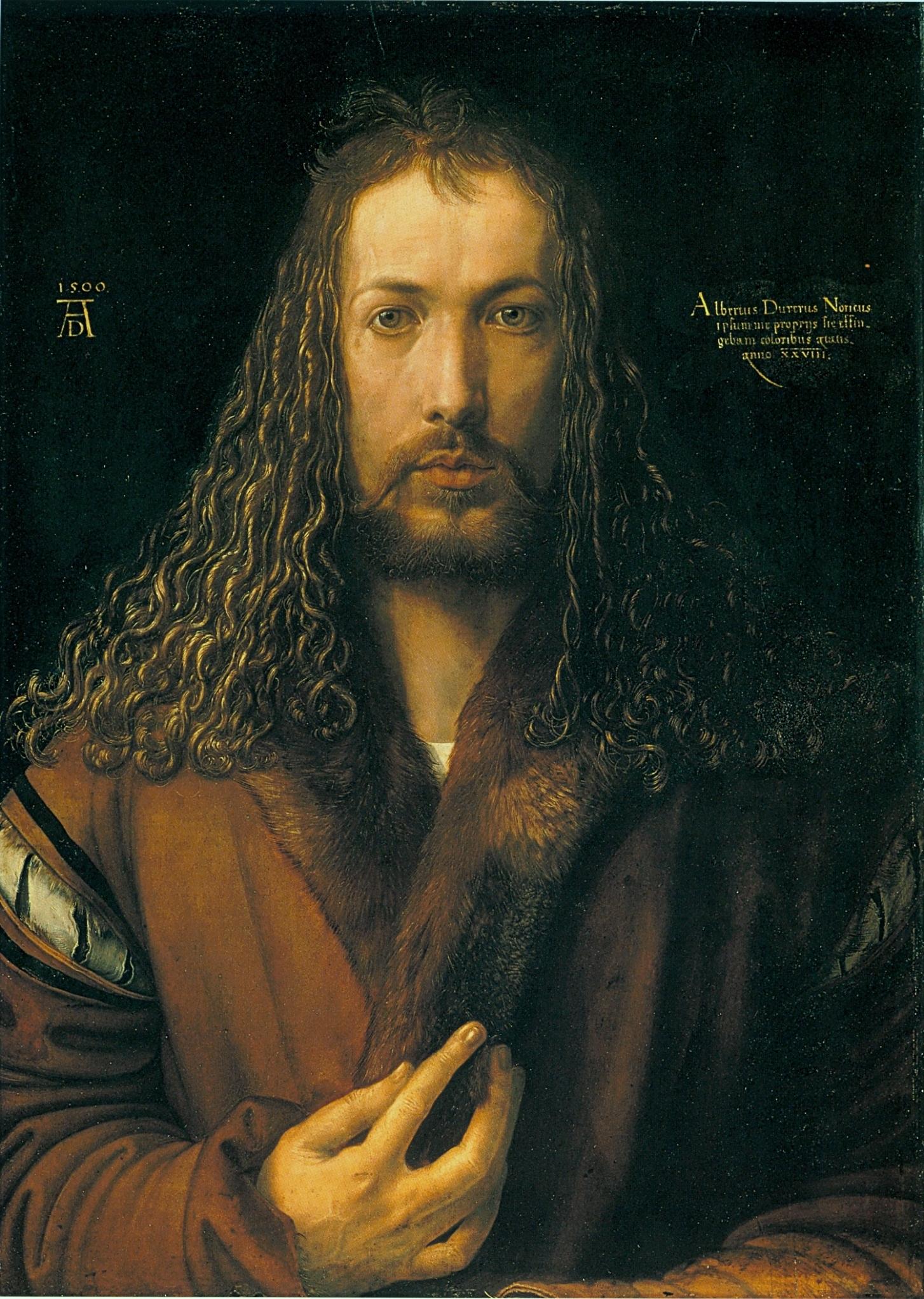 """Tra le notizie dal mondo dell'arte di questa settimana, la riscoperta del New York Times del bellissimo """"Autoritratto con pelliccia"""" di Dürer (1500), conservato alla Alte Pinakothek di Monaco di Baviera."""