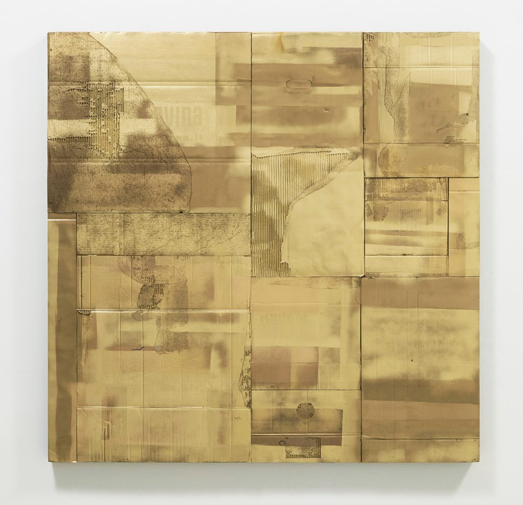 Flavio Favelli, Tempo Aureo, 2020 smalto su cartoni assembl ati, cm 150x150 (2). Ph. Serge Domingie © Flavio Favelli