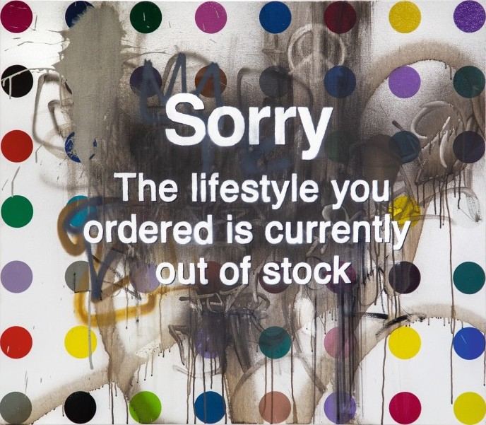 Banksy/Damien Hirst, Sorry, the lifestyle you ordered is currently out of stock (2013-14). Sotheby's
