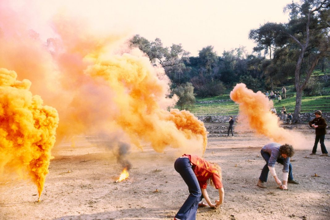 Fireworks performance. Performed at Brookside Park, Pasadena, CA © Judy Chicago/Artists Rights Society (ARS), New York Photo courtesy of Through the Flower Archives Courtesy of the artist; Salon 94, New York; and Jessica Silverman Gallery, San Francisco