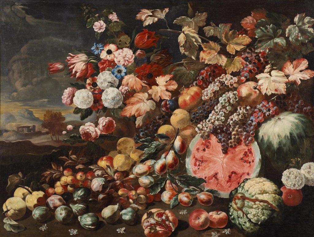 Abraham Brueghel, Fiori e frutta con un paesaggio sullo sfondo. Blindarte