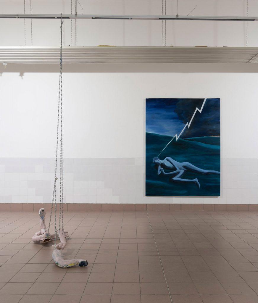 SPAZIOMENSA, vista dell'installazione, sx Sebastiano Bottaro, dx Dario Carratta, Roma